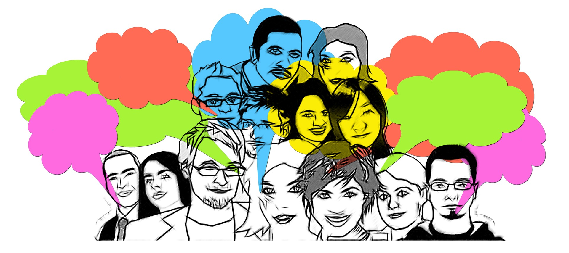 sketched faces with color splash