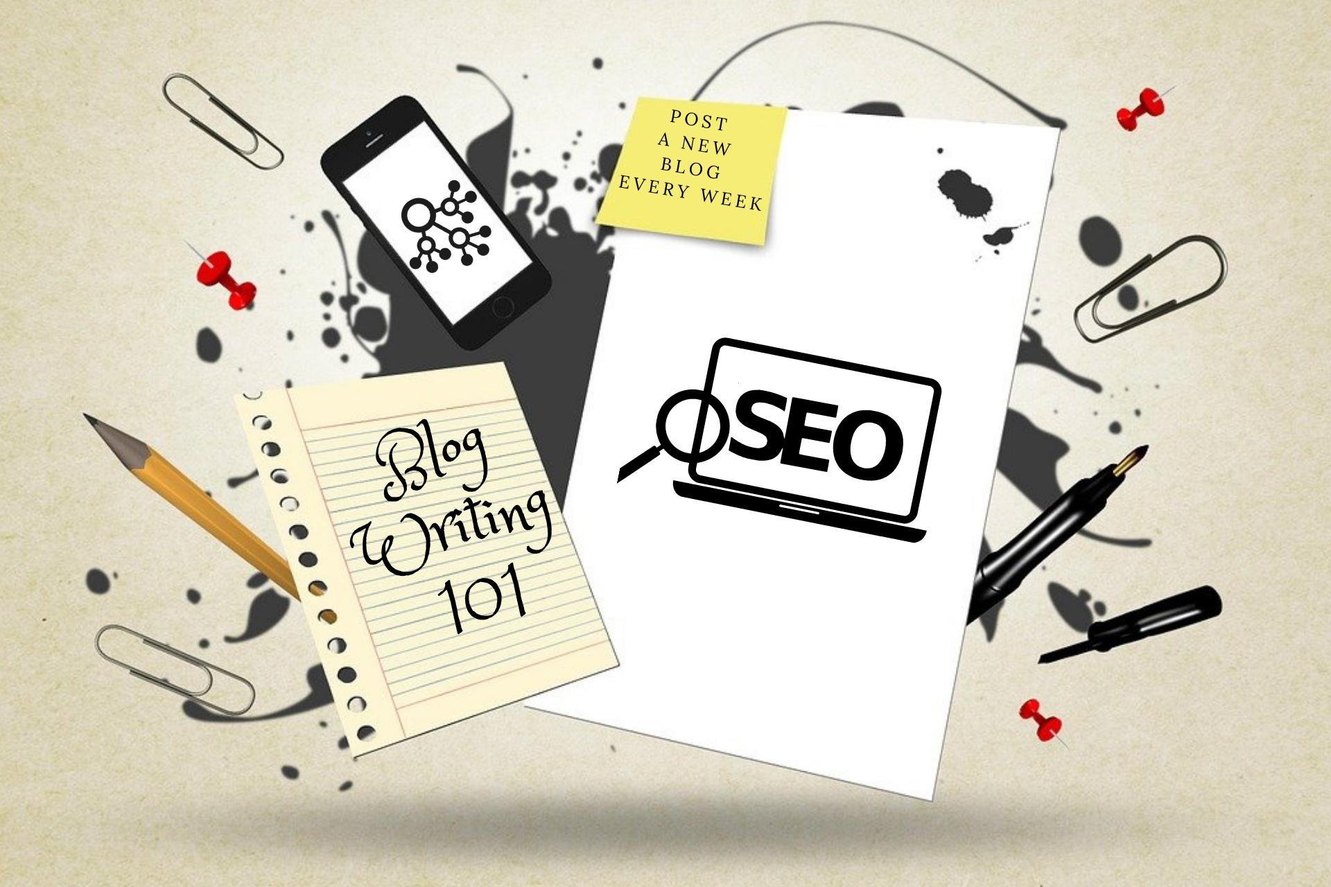 Paper displaying blog writing tips 101