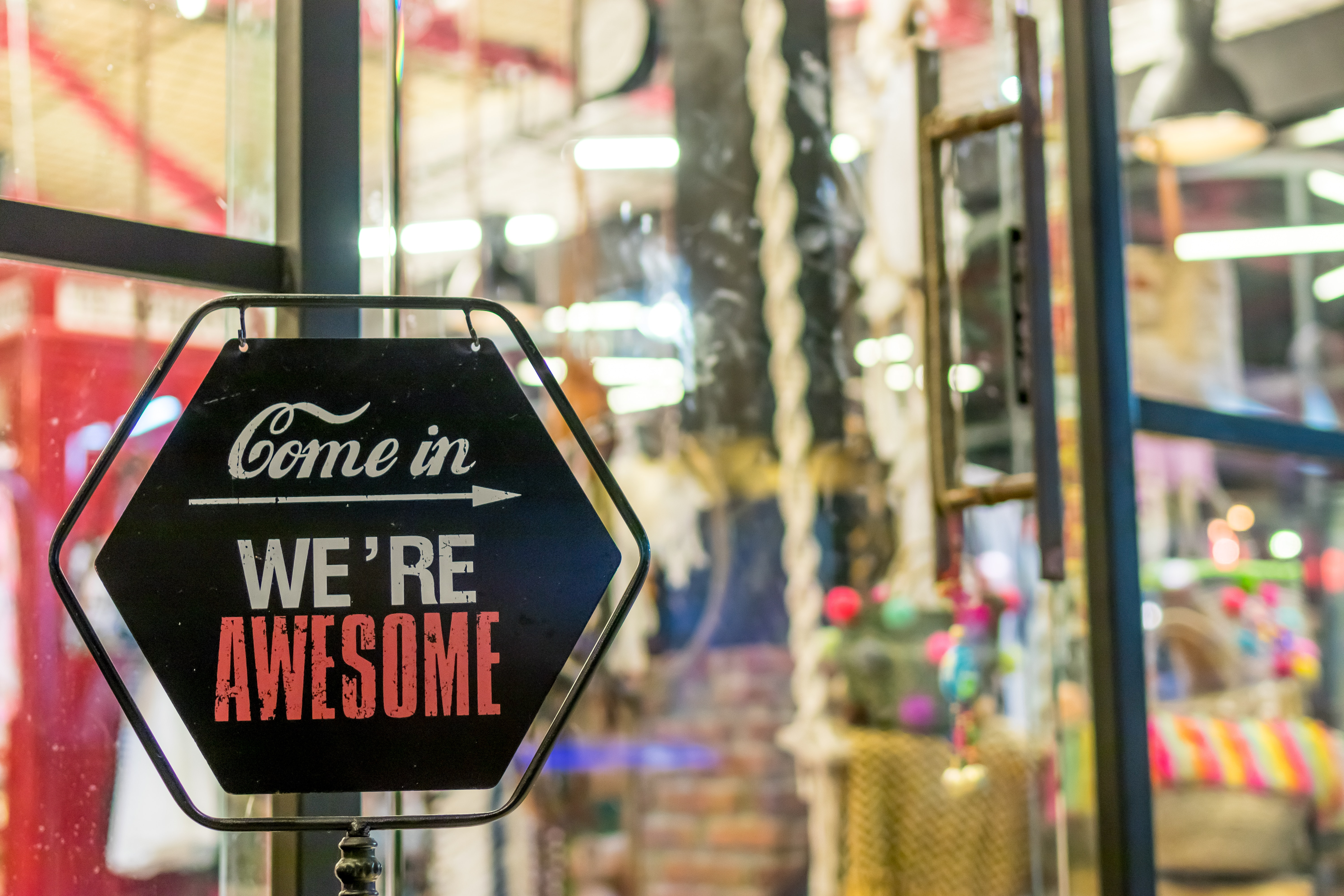 sign displaying awesome credibility to customers