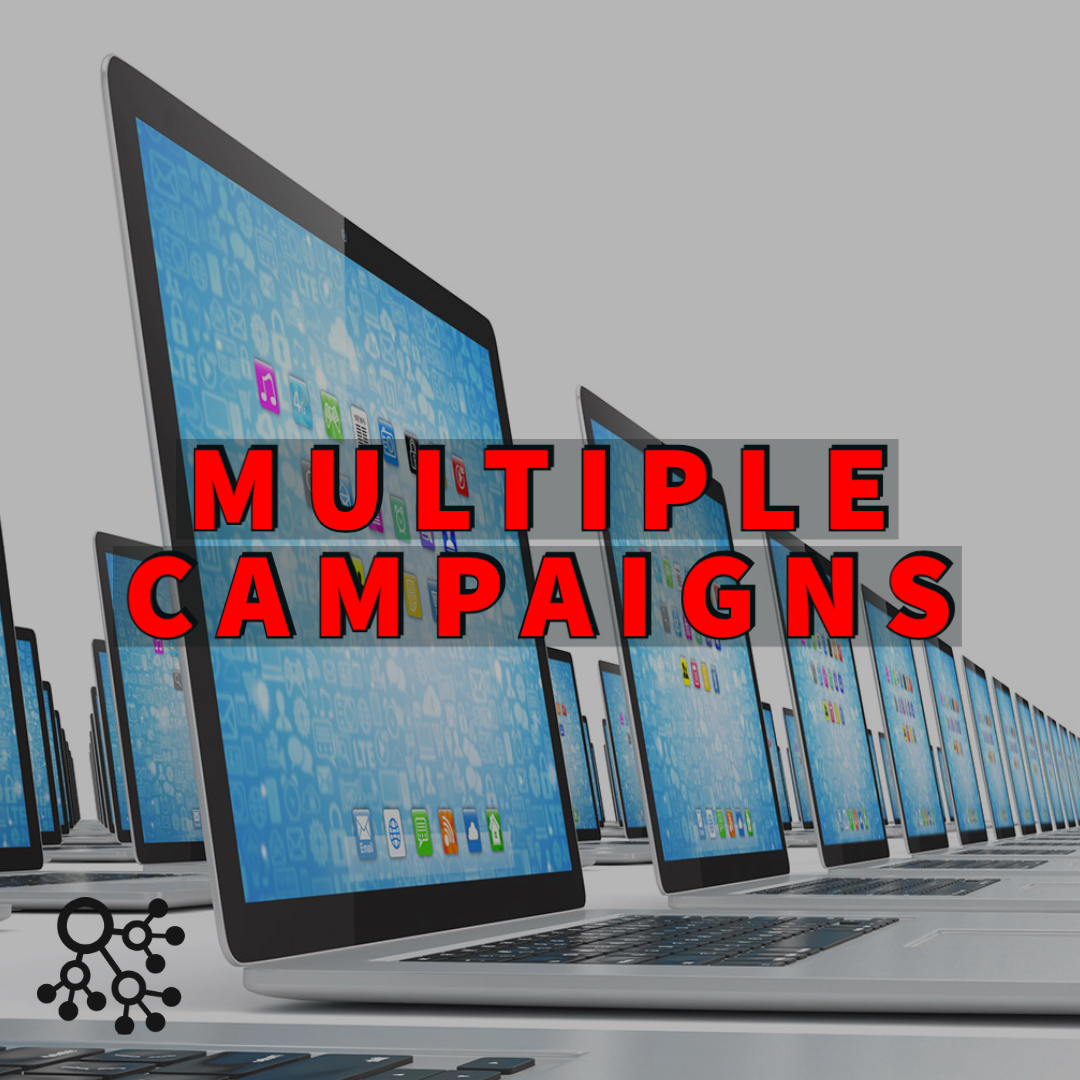 multiple campaigns written over numerous laptop screens
